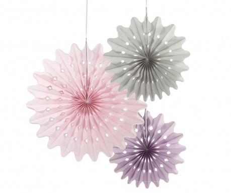 Set 3 visečih dekoracij Pink Origami