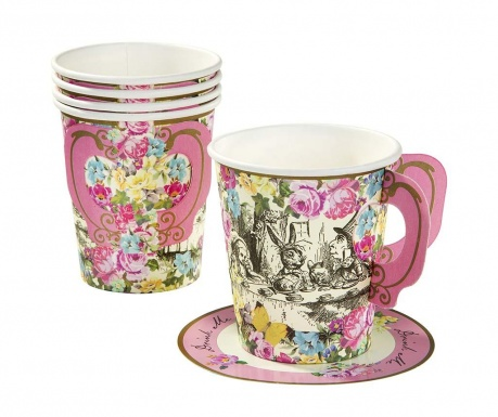 Комплект 12 чашки и 12 чинийки за еднократна употреба Truly Alice Whimsical