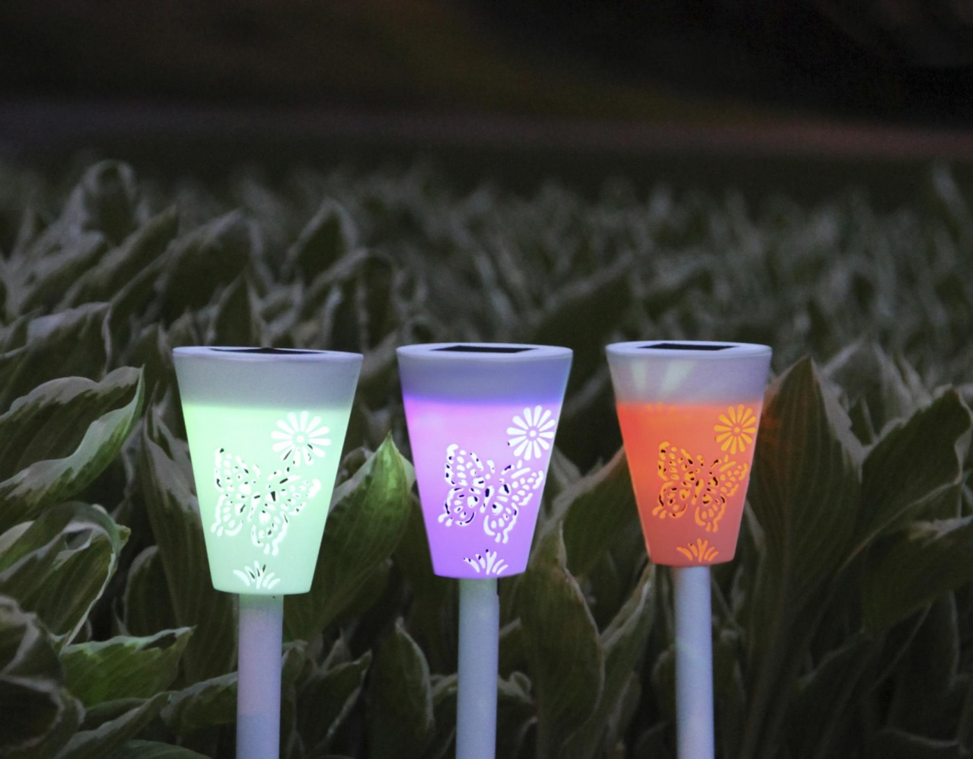 Set 3 solarnih svetilk Butterfly