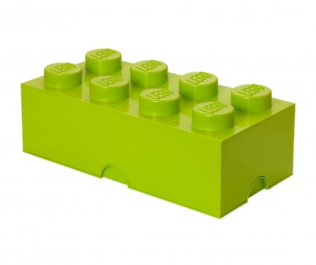 Kutija za pohranu s poklopcem Lego Rectangular Extra Light Green