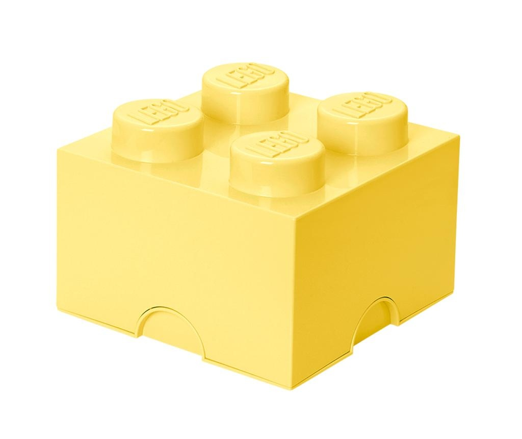 Lego Square Four Light Yellow Doboz fedővel