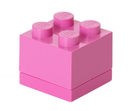 Кутия с капак Lego Mini Square Bright Pink