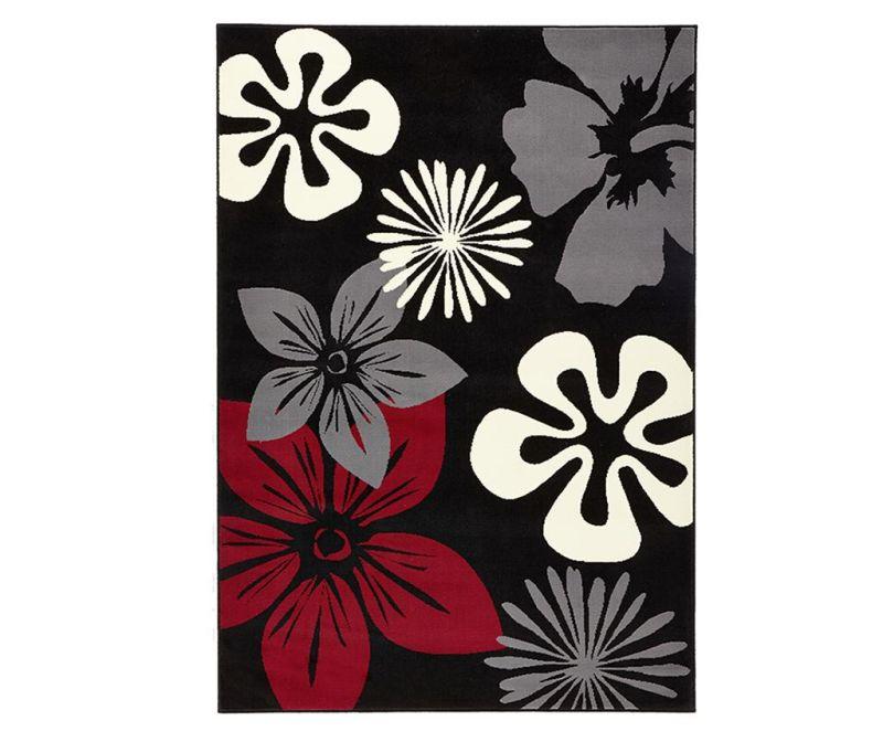 Covor Flowers Black 80x150 cm