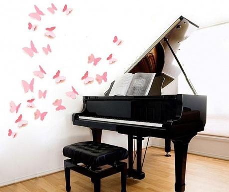 Zestaw 12 naklejek 3D Precious Butterflies Pink