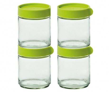 Set 4 recipiente cu capac ermetic Block Green 400 ml