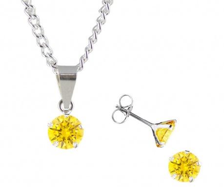 Zestaw kolczyki i łańcuszek z zawieszką Zirconia Golden Yellow