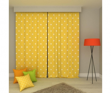 Set 2 zastorov Polka Dots Yellow & White 140x250 cm