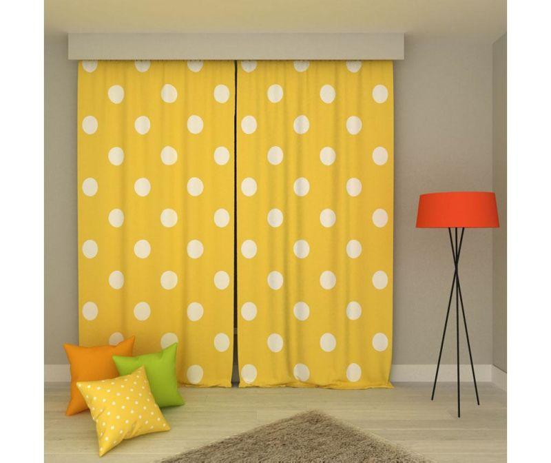 Set 2 draperii Polka Dots Large Yellow & White 140x250 cm