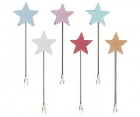 Set 6 furculite pentru aperitiv Pastel Stars