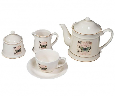 Set of 15 pieces for tea serving and holder Zione