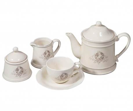 Set of 15 pieces for tea serving and holder Angel