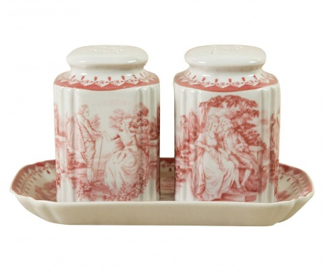 Set of salt and pepper shaker with holder Palace Red
