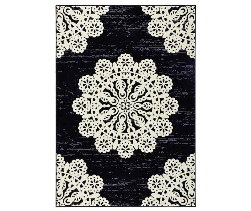 Covor Lace Black and Cream 80x150 cm