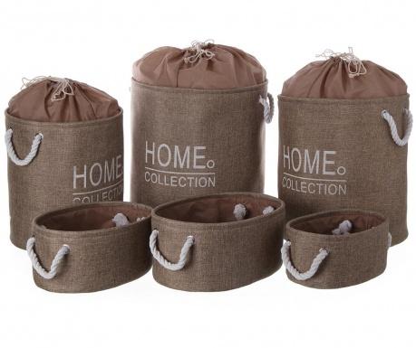 Комплект 3 коша за дрехи и 3 коша Home Beige