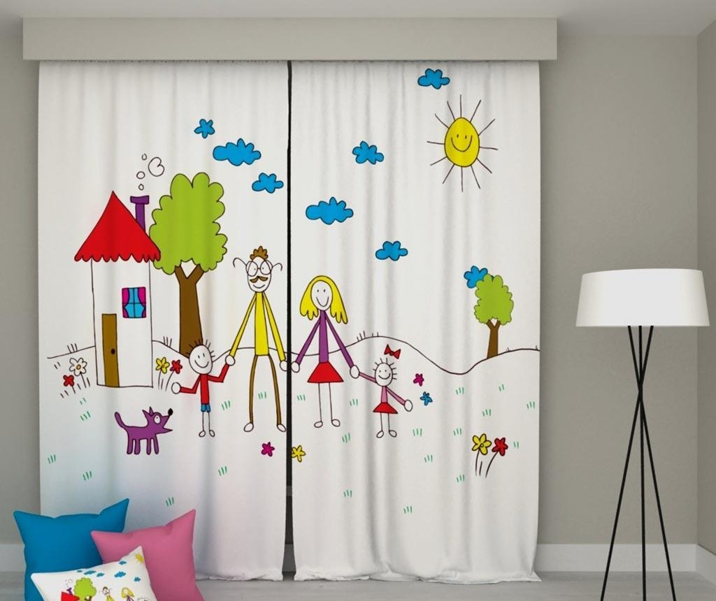 Set 2 draperii Mother & Father & Children 140x250 cm