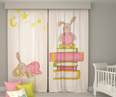 Set 2 zastorov Book Bunny & Sleepy Rabitt 140x250 cm