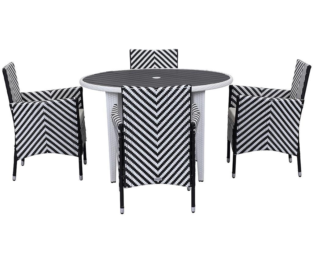 Set stol i 4  stolice za vanjski prostor Malaga Stripes Black