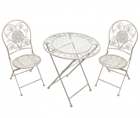 Set of outdoor table and 2 chairs Ancient Flowers