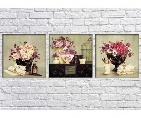 Set 3 tablouri Vases 30x30 cm