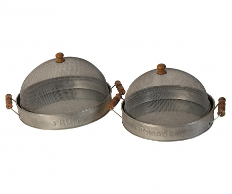 Set 2 tavi servire cu capac Antique Silver