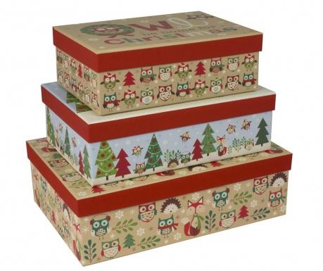 Set 3 škatel s pokrovom Christmas