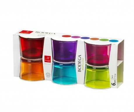 Set 6 pahare Bodega Multicolors 200 ml