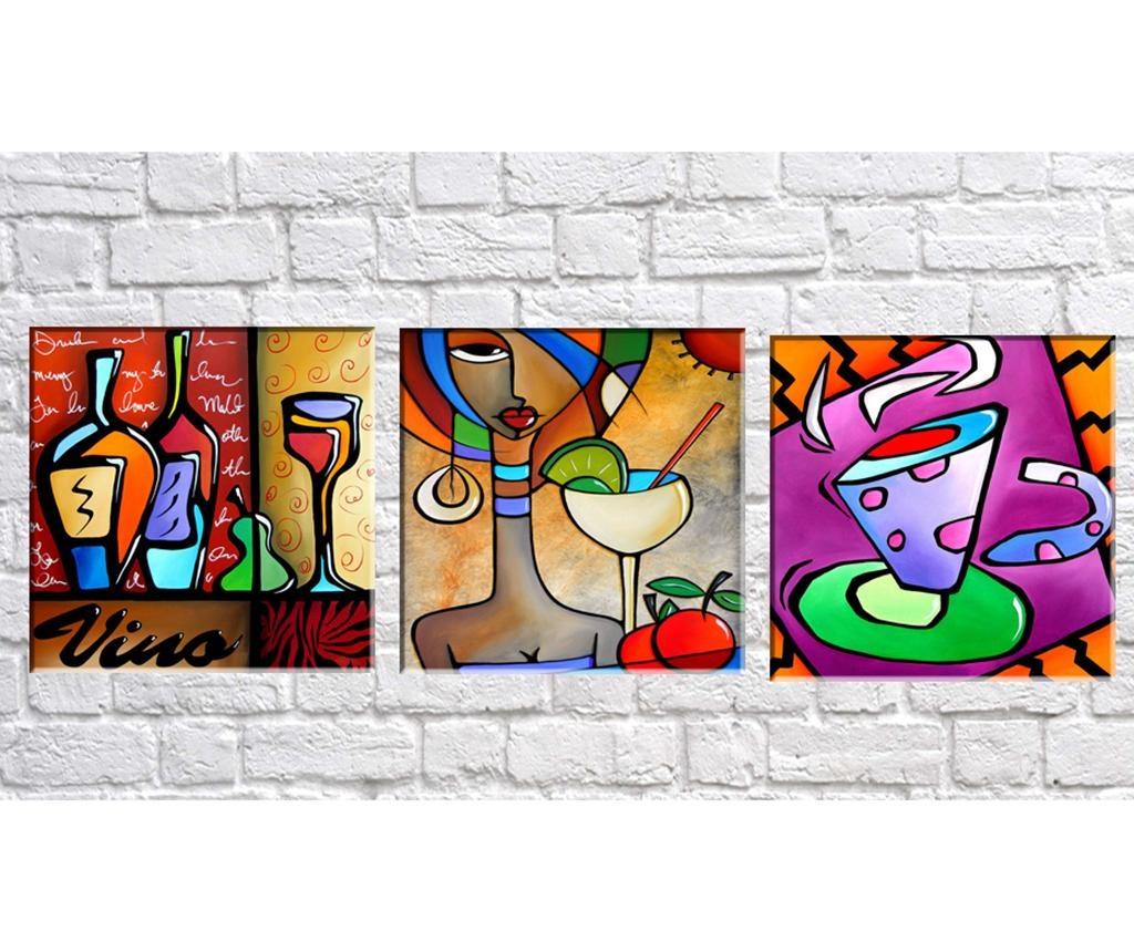 Set 3 tablouri 3D Vino 30x30 cm