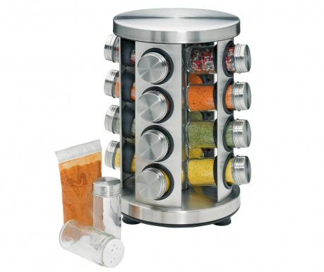 Set of 16 spices canisters and rotating holder Merone