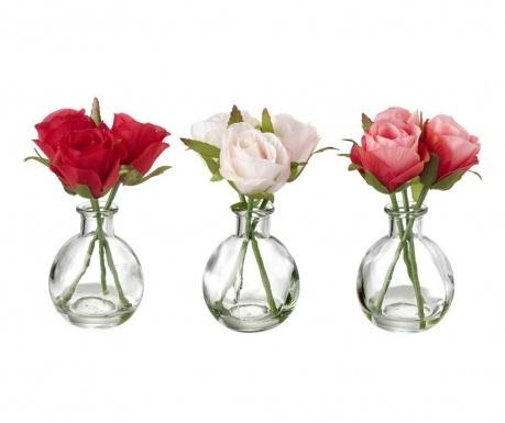 Sada 3 váz s umělými květinami Roses Bouquet