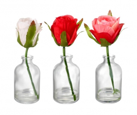 Set of 3 vases with artificial flowers Delicate Roses