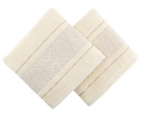 Set 2 prosoape de baie Big Ceramica Cream 100x150 cm