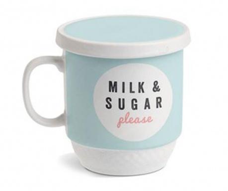 Κούπα με καπάκι και εγχυτήρα Milk Blue 350 ml