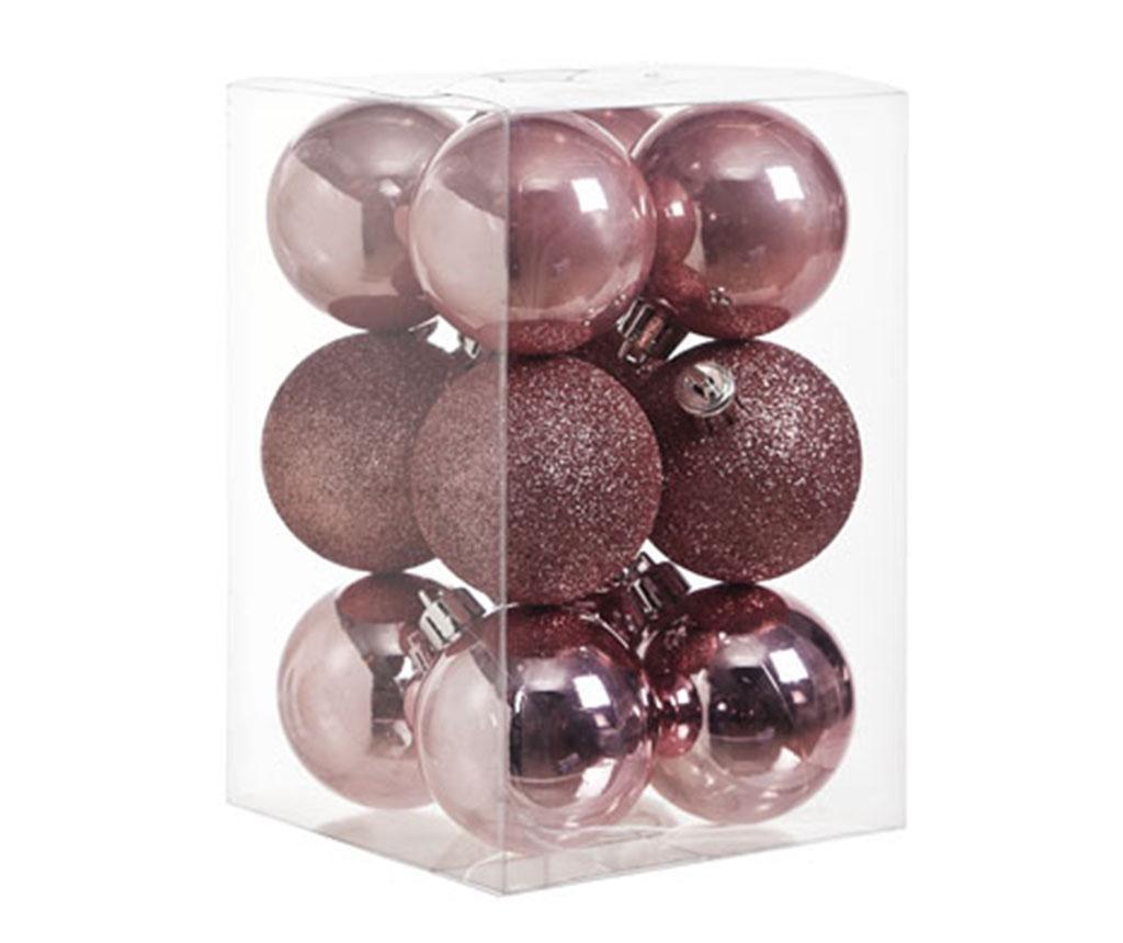 Set 12 ukrasnih kuglica Pearl Pink Glitter