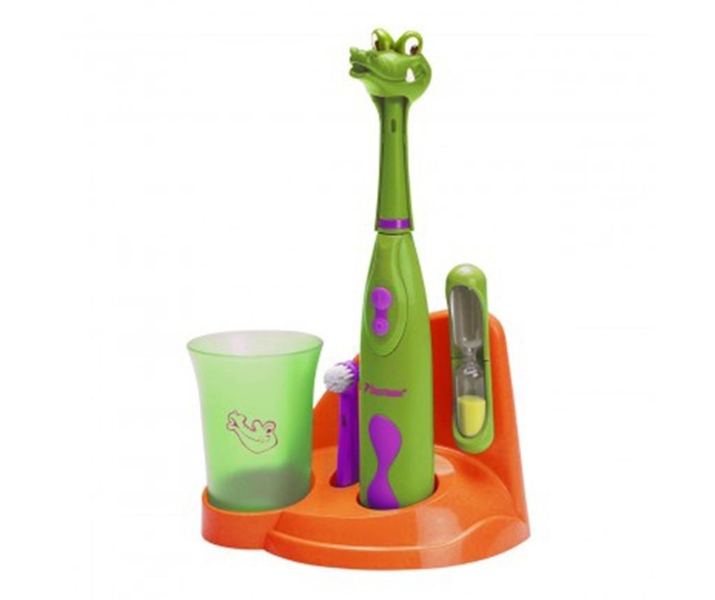 Set - otroška električna zobna ščetka in dodatki Clean Crazy Croc