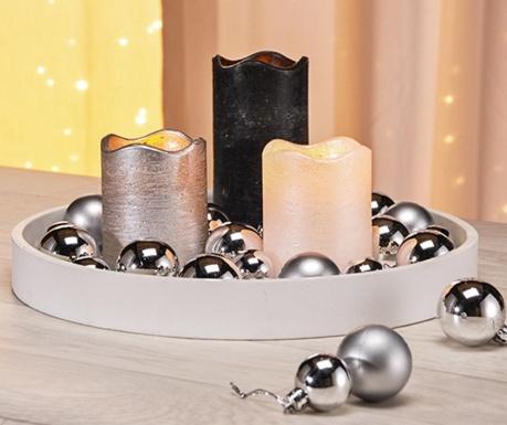 Zestaw 3 świeczek z diodą LED, podstawką i 24 dekoracyjnymi bombkami Dawn