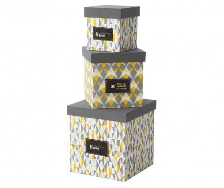 Sada 3 skladovacie krabice s vekom Mexico Tris