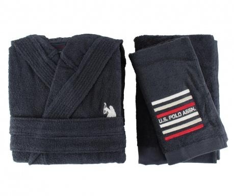 Zestaw 2 ręczniki i szlafrok kąpielowy męski Lusten Dark Blue