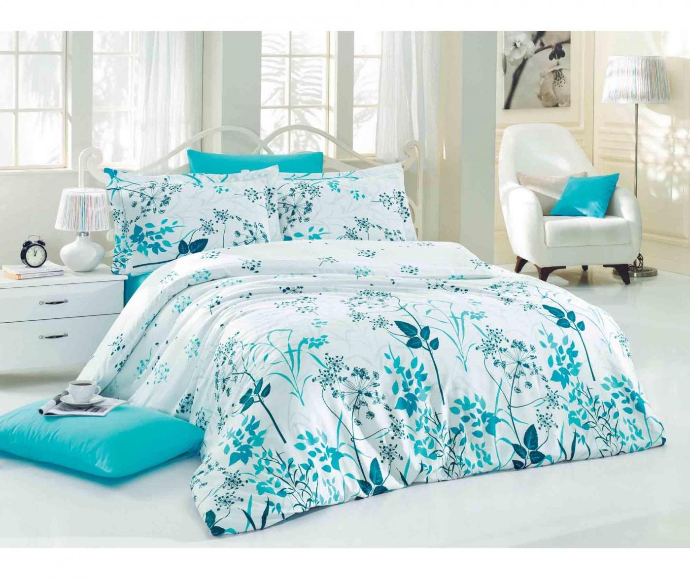 Спално бельо Single Satin Supreme Garden Blue