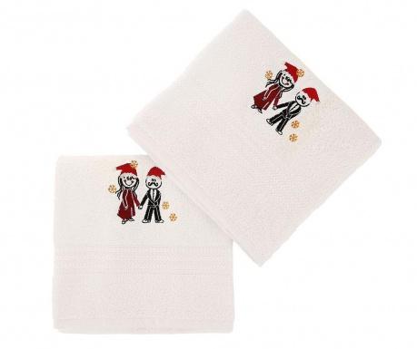 Zestaw 2 ręczników kąpielowych Christmas Couple White