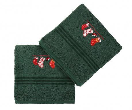 Set 2 prosoape de baie Christmas Gifts Green