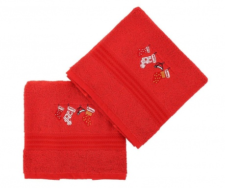Set 2 prosoape de baie Christmas Gifts Red 50x90 cm