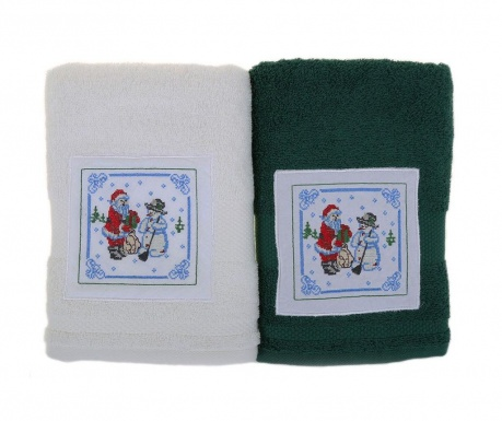 Set 2 kupaonska ručnika Santa and Snowman White and Green 50x100 cm