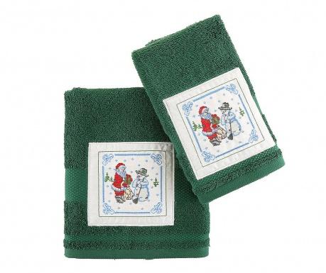 Zestaw 2 ręczników kąpielowych Santa and Snowman Green