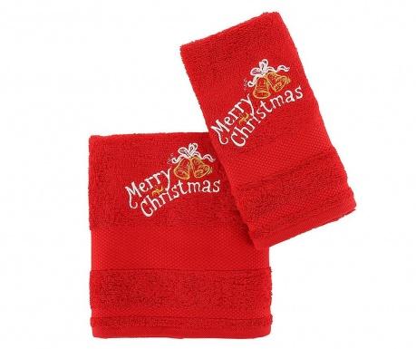 Set 2 prosoape de baie Christmas Bells Red