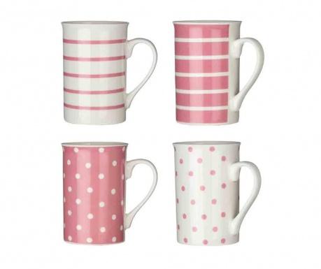 Zestaw 4 kubków Dots & Lines Pale Pink 270 ml