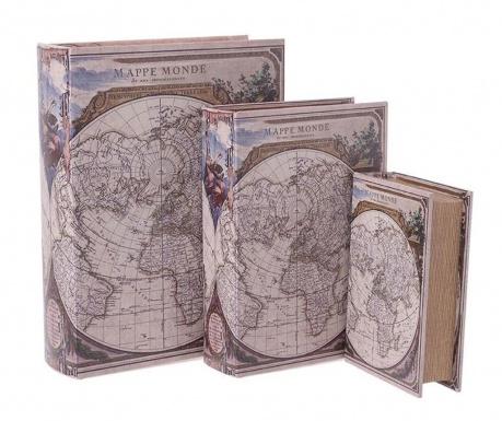 Sada 3 krabic ve tvaru knihy Monde