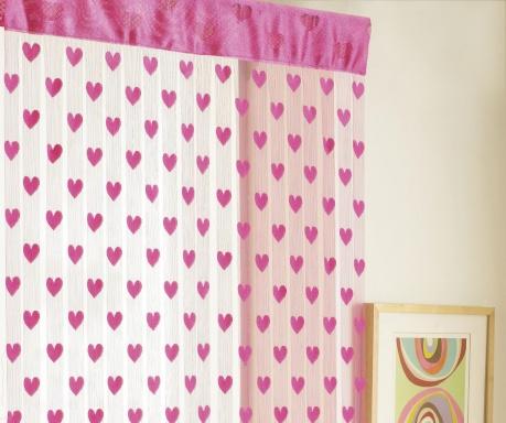 Záclona na dvere Hearts Pink 90x200 cm