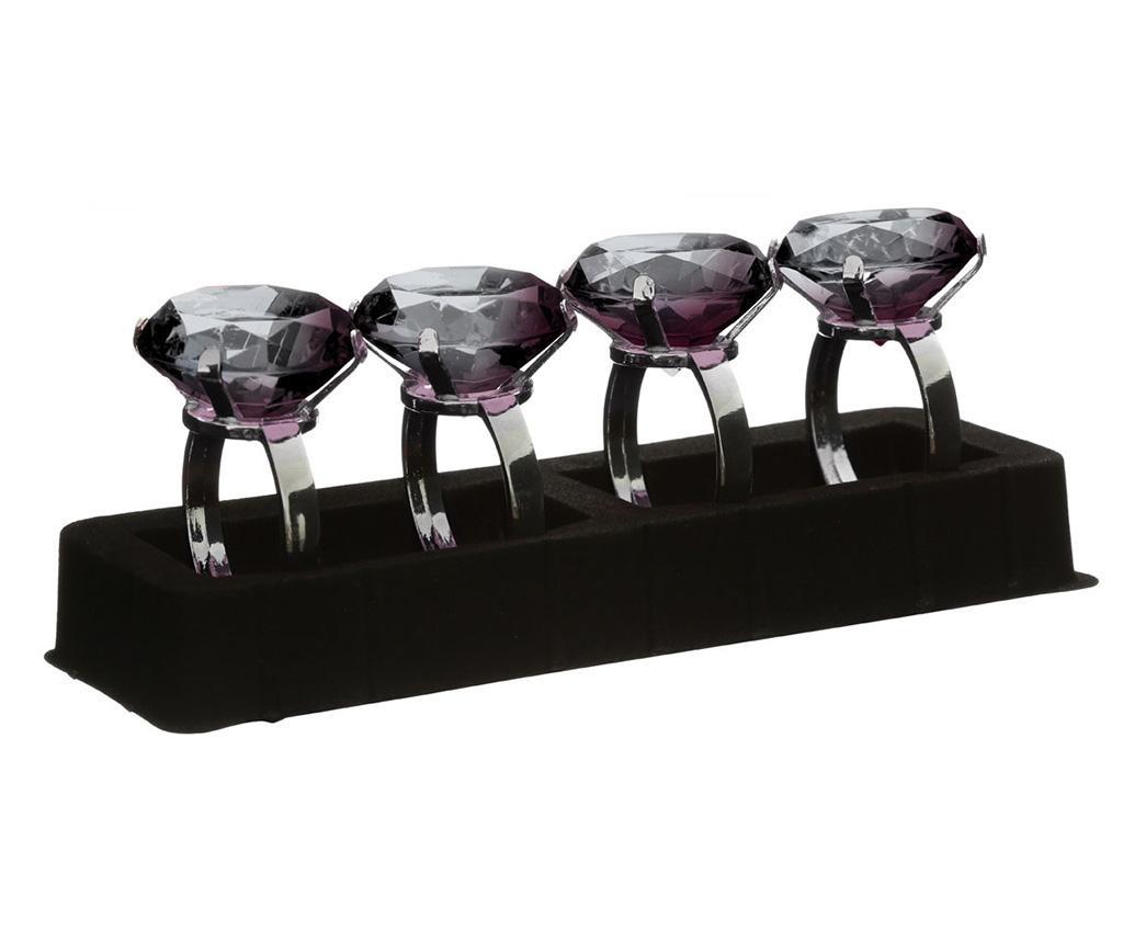 Set 4 prstena za ubruse Diamond Smoke