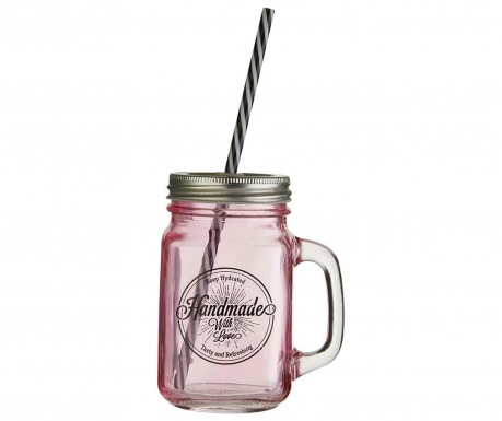 Mug with cover and straw Cocktail Pink 450 ml