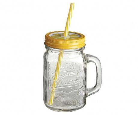 Hrnček s vrchnákom a slamkou Mason Lemon 450 ml